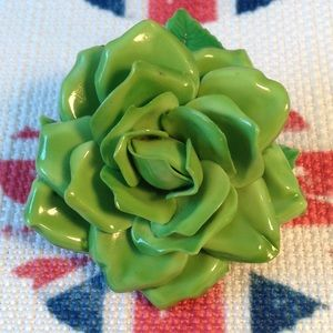 Vintage Green Rose Enamel Flower Pin/Brooch